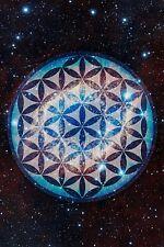 Large- Flower of Life FOL Merkaba Space Inspirational Artwork Print Poster
