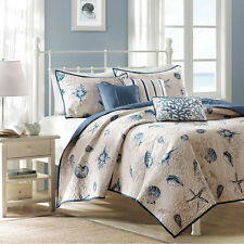 BLUE TAN SEASHELL 6pc Full Queen QUILT SET : BEACH HOUSE SHELLS BAYSIDE COVERLET