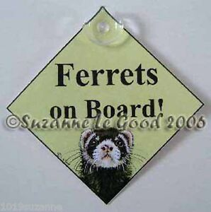 Ferret sign art Ferrets on board car sign from original painting Suzanne Le Good