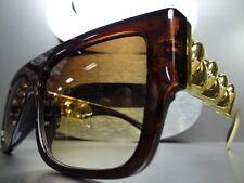 Men's or Women VINTAGE RETRO HIP HOP Style SUN GLASSES Brown & Gold Chain Frame