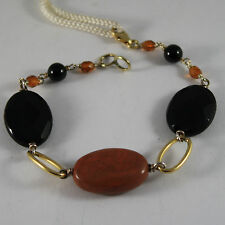 .925 RHODIUM SILVER YELLOW GOLD PLATED BRACELET WITH BROWN JASPER AND BLACK ONYX