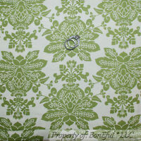 BonEful Fabric FQ Cotton Quilt VTG Moda Green Cream Flower Damask Leaf Cottage L