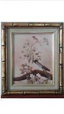 Oriental Vintage oil painting birds plum blossom 1960 Masonite Signed Ho Tuner?