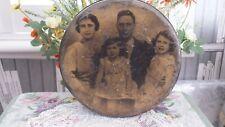 Old Vintage Round Biscuit Tin C1930s King George V1 Princess Elizabeth Margaret