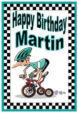 CICLISMO-personalizzata divertente cartolina Di Compleanno-qualsiasi nome - - Nuovo di Zecca finitura lucida