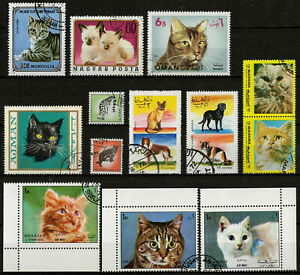 Cats Dogs Pets Lot of 13 Used Stamps Animals CTO Used