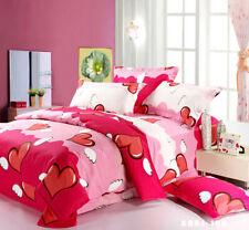 Red Hearts Quilt Duvet Doona Cover Set Double Size Bedding Pillow Cases Cotton