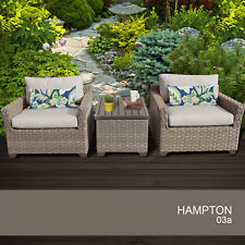 Hampton 3 Piece Outdoor Wicker Patio Furniture Set 03a