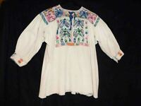 Vintage Handmade Women Mexican Folk Peasant Embroidered Blouse Top LARGE 1960
