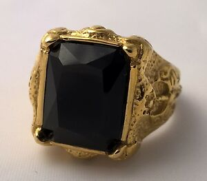 G-Filled 18kt yellow gold black sapphire Men's ring Gent's medieval axe weapon V