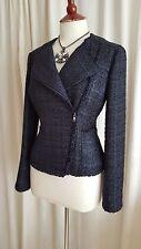 Hobbs Carly Biker Style Fantasy Sparkle Tweed Jacket Navy Blue 10 BNWT £149!