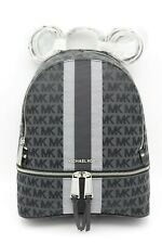NWT MICHAEL Michael Kors Black Signature Stripe Rhea Zip Medium Backpack Bag New