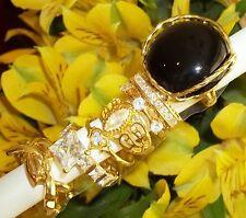 NOS Seta Gold Plated Ring Lot B40 sz 9 - 9.75 Eternity Bold Black Cz Puzzle Band