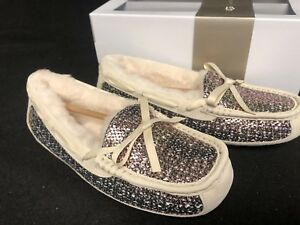 UGG Australia SYMONA FRILL Metallic Shearling Slippers BRONZE sizes 1019727HBX