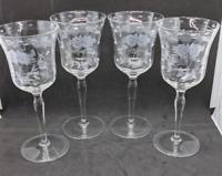 Vintage Etched Wine Glass Set of 4