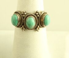 Vintage Doug Paulus dP Sterling Silver Cable 3 Stone Turquoise Band Ring