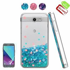 Samsung Galaxy J3 Prime Case HD Screen Protector Glitter Liquid Soft TPU Cover