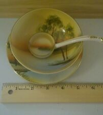 VINTAGE NORITAKE JAPAN 1920 3PC BOWL, DISH and LADLE  FOOTED BOWL HAND PAINTED