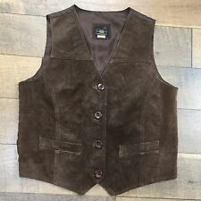 Womens Chocolate Brown Suede Vest Button Front Western Biker Motorcycle SHARP M