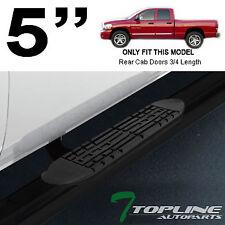 """Topline For 2002-2009 Dodge Ram Quad/Crew Cab 5"""" Oval Side Step Nerf Bars - Blk"""