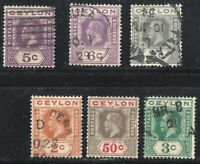 1912 CEYLON TO 1927 BRITISH CROWN COLONY 6 RARE STAMPS
