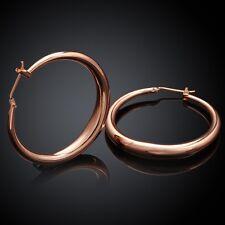 Hoop Bali Earrings L124 18K Rose Gold Latch Back