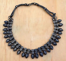 Linked Metal Bead Indian Rajasthan Necklace Collar Tribal Jewelry Vintage Ethnic