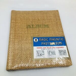 "VINTAGE Magic Magnetic Photo Album 20 Pages 9"" X 11"" New Old Stock Woven Straw"