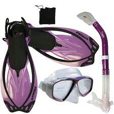 Snorkeling Diving Gear Package Set : Mask Dry Snorkel Fins