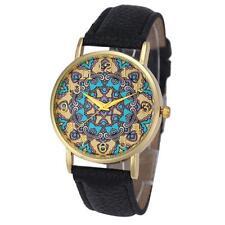 Women Watch Flower Pattern Ladies Dress Watch Leather Quartz Wrist Watch US