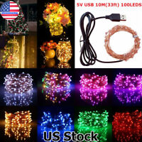 10M 100LED String Fairy Lights Copper Wire USB Powered Decor Garland Party Xmas