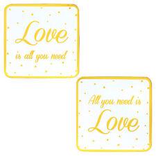Blanco/Oro Conjunto De 2 Vajilla Dorso de Corcho Posavasos -All You Need Is Love