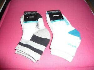 kids donnay 2 packs trainer socks 4 pairs size 12-3 white grey black/blue/green