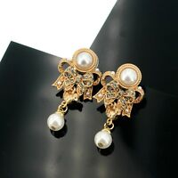 Earrings Clip On Golden Chandelier Bird Bow Tie Pearl QD4