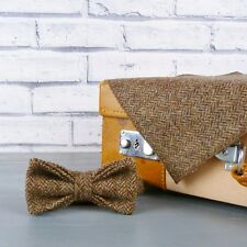 Yorkshire Tweed Bow Tie and Pocket Square - Brown Herringbone