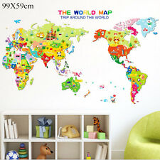 Sticker Kids Nursery Room Decor Animal World Map Wall Decal Removable Art FL
