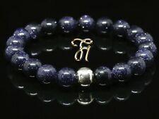 Blaufluss 925er sterling Silber Armband Bracelet Perlenarmband blau 8mm