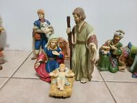 12 Piece Nativity Set Ceramic Vibrant Christmas Baby Jesus Mary Joseph