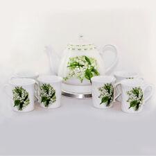 Elektrischer Keramik Wasserkocher + 6 Kaffeebecher Set Maiglöckchen
