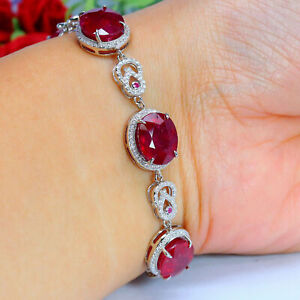 NATURAL 10 X 12 mm. OVAL CUT RED RUBY & WHITE CZ BRACELET 925 SILVER