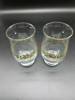 2 Libbey LRS3 Christmas Holiday Holly Berries Ribbon 14 oz Flat Tumbler Glasses