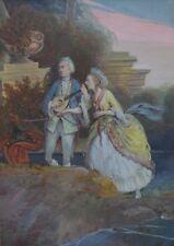 Après Jean Fragonard gouache chiffres au 18th Siècle Robe Courting SCENE (3)