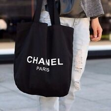 Chanel Limited Paris CC beauty VIP Gift Black Thick Canvas Shopping Tote Bag New