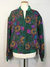 Vintage 80s 90s Don't Stop Silk Bomber Jacket Womens S Green