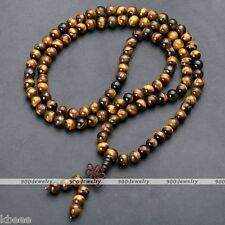 Natural Tiger's Eye Gemstone Beads Multi-layer Buddha Bracelet Necklace  34''