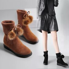 Women Chic  Suede Leather Knitted Top Pompom Hidden wedge Ankle Boots Shoes BGHE