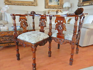 ANTIQUE RENAISSANCE REVIVAL CARVED ITALIAN Tete-a-Tete LOVESEAT SETTEE CHAIR