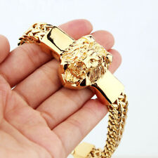 Stainless Steel Lion Head Bracelet Mens High Quality Gold Figaro Rolo Chain With