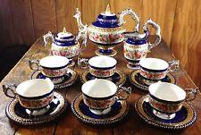 Limoges China Porcelain Victorian Style Cobalt Blue Gold Pink Roses Tea Set
