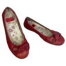 Rieker Libby Womens Red Leather Pumps Slip On Ballerinas Size 6.5UK 40EU